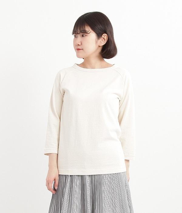 ムラ糸ラグラン7分袖Tシャツ(B・キナリ)