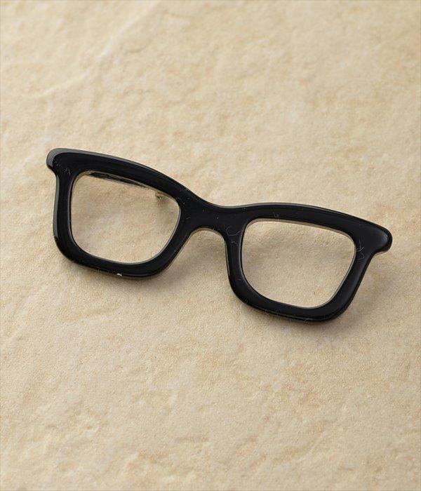 メガネモチーフブローチ(B・ブラック)