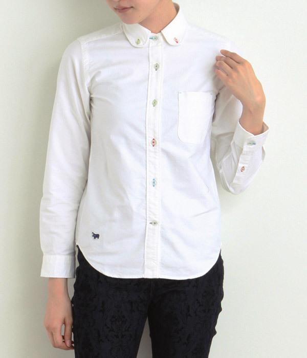 オックスカラフルホール丸衿シャツ(A・ホワイト)
