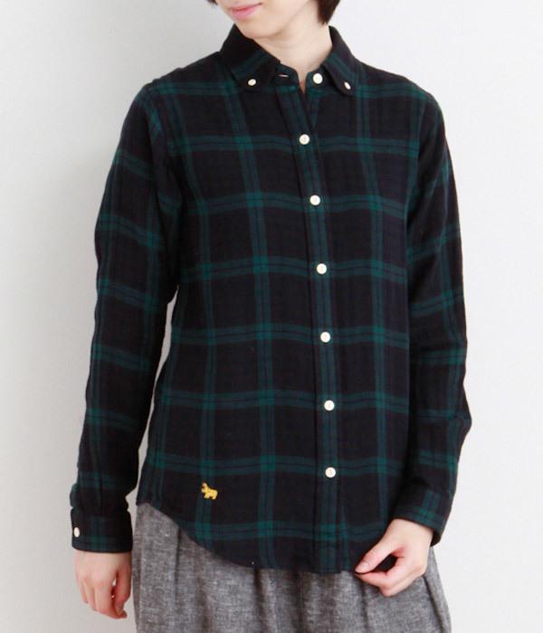 ブラックウォッチラウンドカラーシャツ(ネイビー)