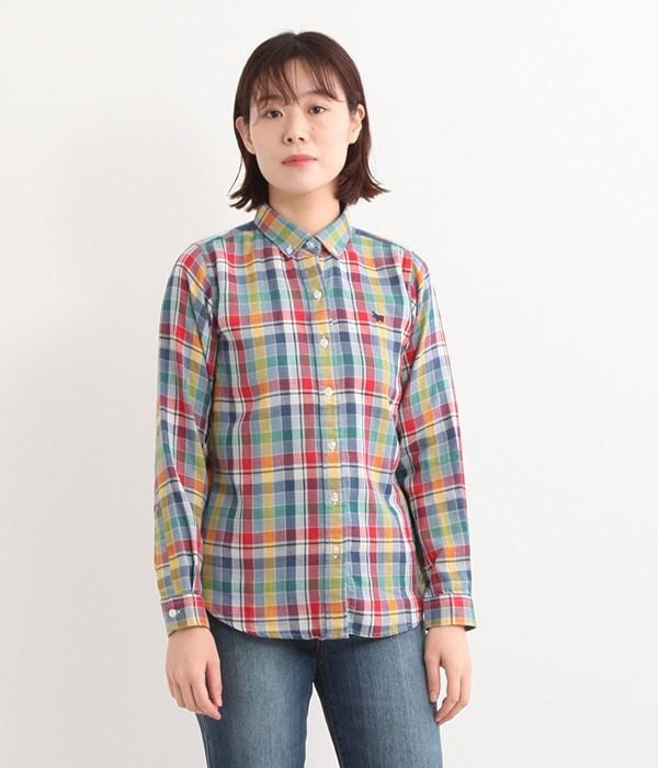 Wガーゼチェックシャツ(A・グリーン系)
