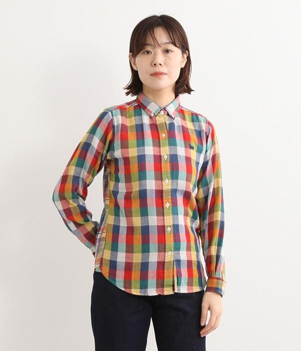 Wガーゼチェックシャツ(B・イエロー系)