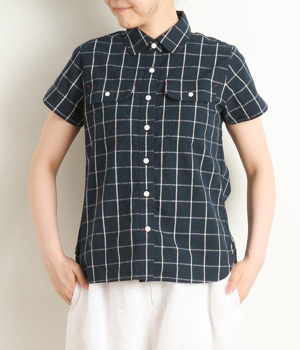 コットンリネン半袖ワークシャツ(B・チェック)