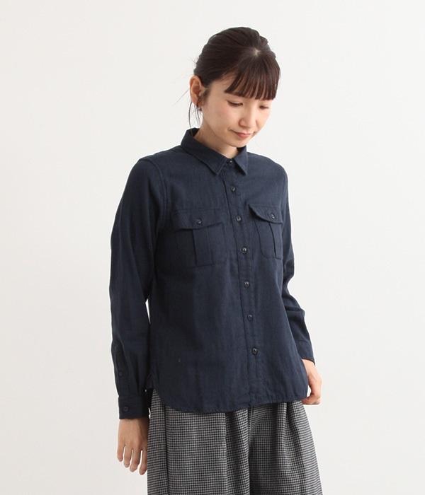 Wガーゼミリタリーシャツ(B・ネイビー)