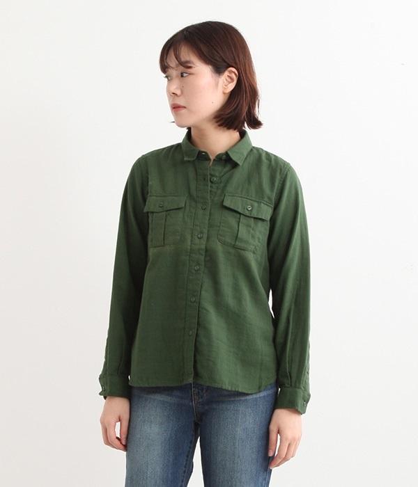 Wガーゼミリタリーシャツ(C・カーキ)