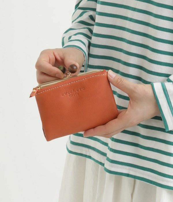 カウレザーがま口2つ折り財布(A・オレンジ)