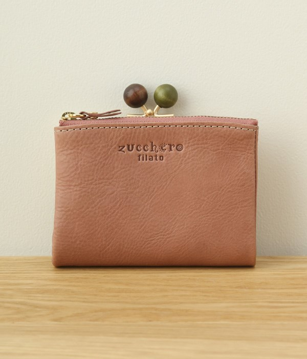 カウレザーがま口2つ折り財布(E・ピンク)