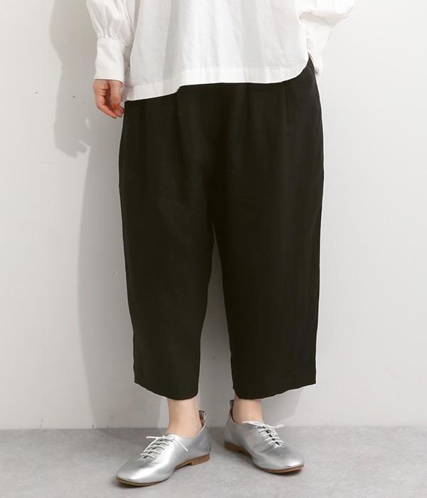 フレンチリネンサルエル風パンツ(C・ブラック)