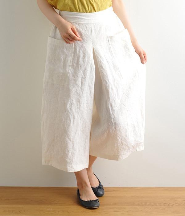 ポケット付き裾タックパンツ(A・オフホワイト)