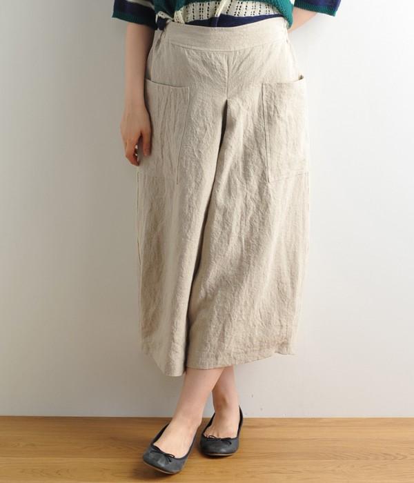 ポケット付き裾タックパンツ(B・ナチュラル)