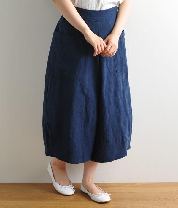 ポケット付き裾タックパンツ(C・ネイビー)