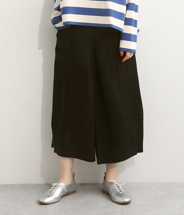 ポケット付き裾タックパンツ(D・ブラック)