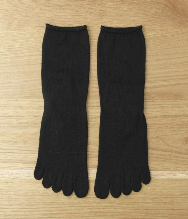 重ね履き用ウール100%ロークル丈5本指ソックス(D・ブラック)