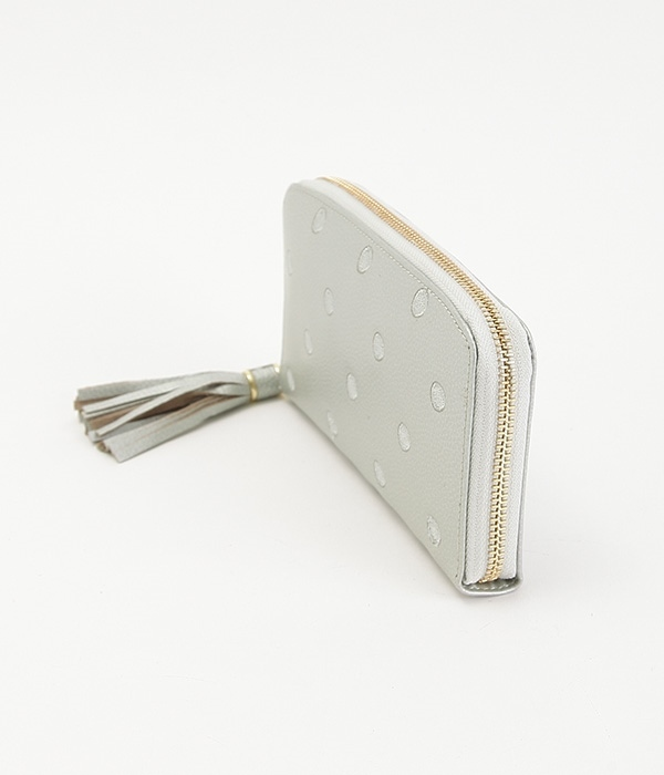 牛革ドット刺繍ラウンド長財布(D・シルバー)