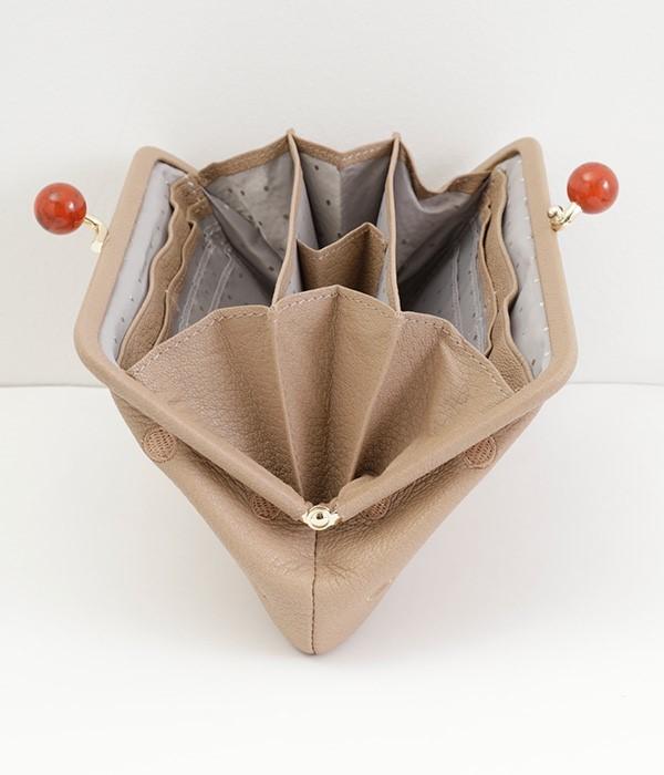 がま口長財布(G・ブラックドット刺繍)
