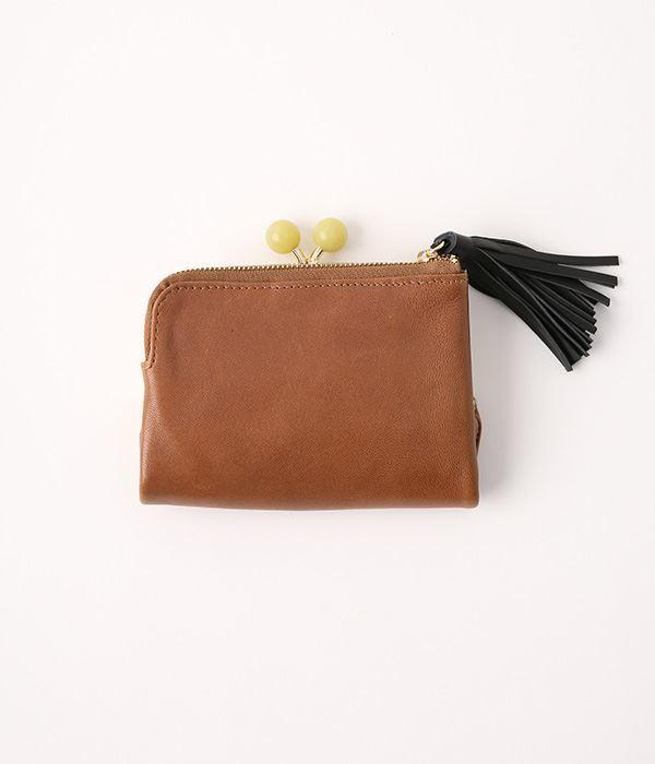 天然石まる玉がま口 二つ折り財布(J・オーク)