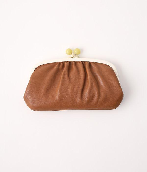 天然石まる玉がま口 長財布(A・ブラック)