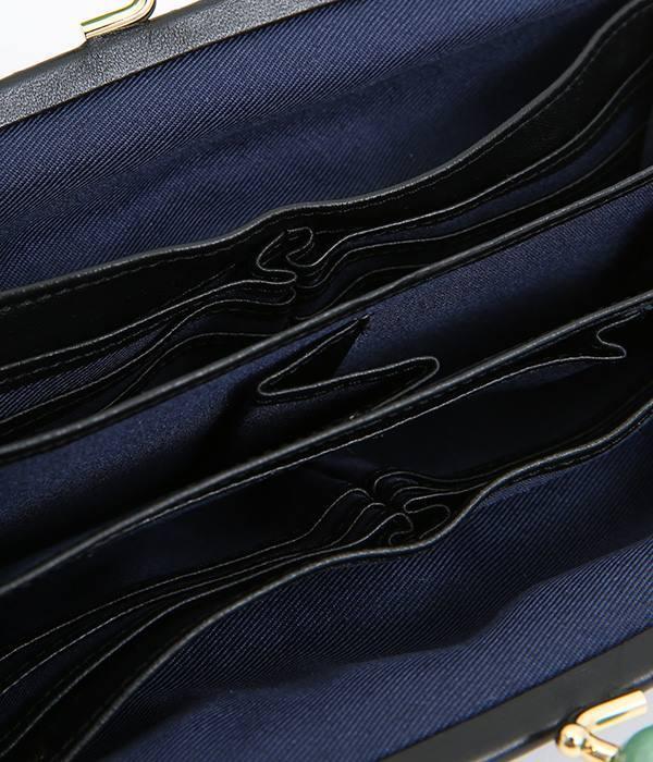 天然石まる玉がま口 長財布(K・ブラックドット刺繍)