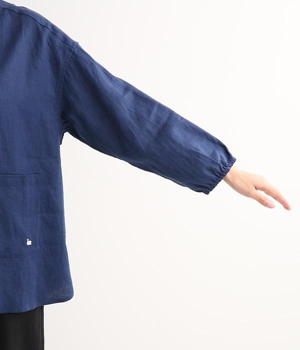 【chanvre】バンドカラーシャツ(D・ダークブルー)
