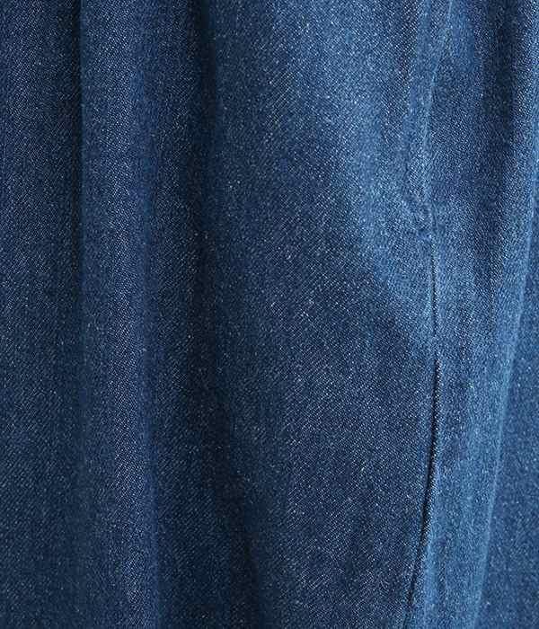 コットンリネンデニムテーパードパンツ(A・ブルー)