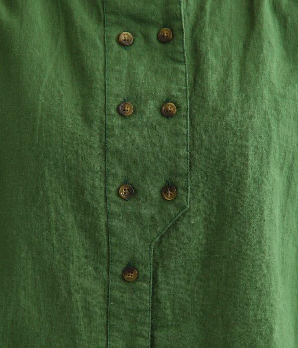 コットンリネンオックスダブルボタン7分袖ブラウス(B・グリーン)