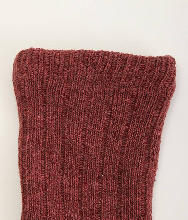 内側シルクパイル2重編み靴下 ヴィンテージ風コットン(C・えんじ色)