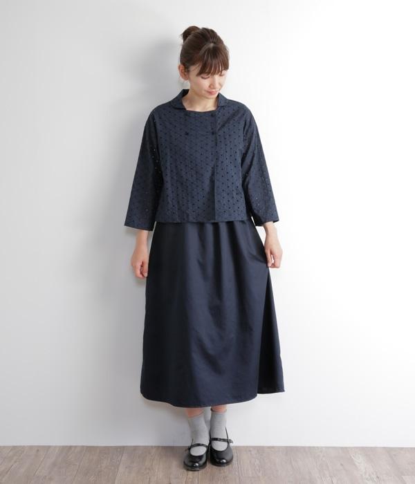 2WAY切替サークル刺繍ノースリワンピース(A・ネイビー)