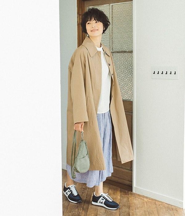 テクスチャーナイロン ラージ バッグレット(M・パーシモン)