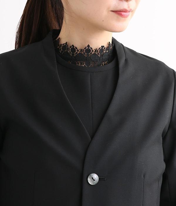 TECH WOOLスタンドVネックジャケット(ブラック)