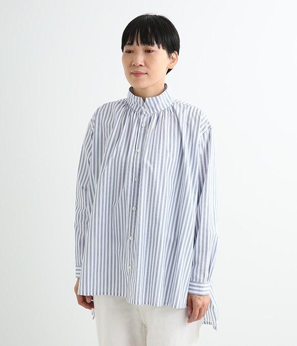 ステップカラーロングシャツ(B・ホワイト)