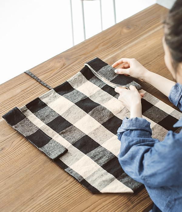 オリジナルチェック 折りたたみマルシェバッグ(大)(D・ブロックチェック)