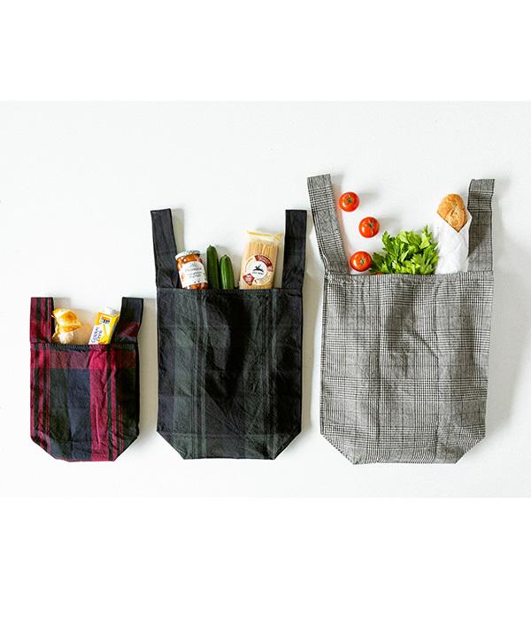 オリジナルチェック 折りたたみマルシェバッグ(中)(B・レッド)