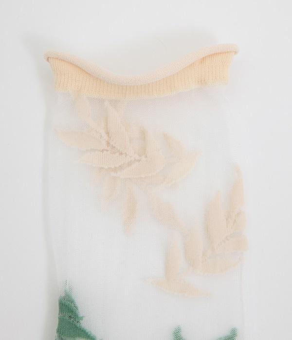 laurel/チュール ソックス(ブラン/グリーン)