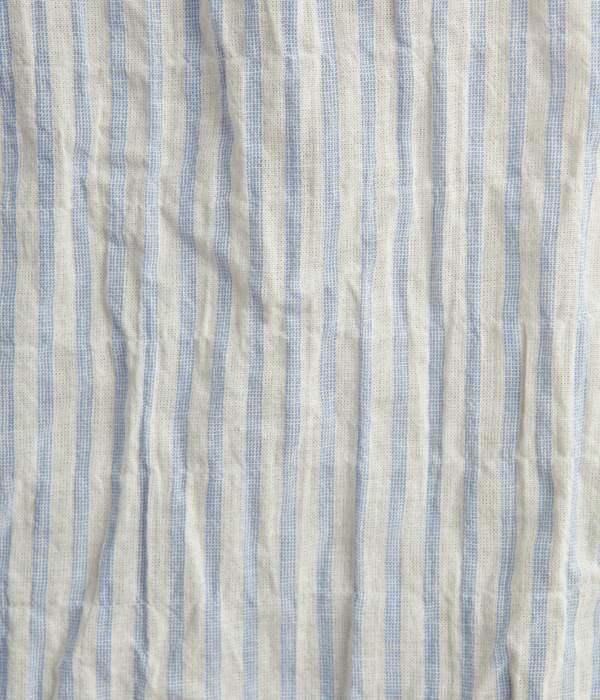 オーガニックコットン 衿フリルブラウス(C・ブルー×オフホワイト)
