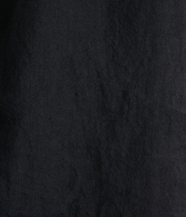 フレンチリネンノースリーブ衿フリルブラウス(D・ブラック)