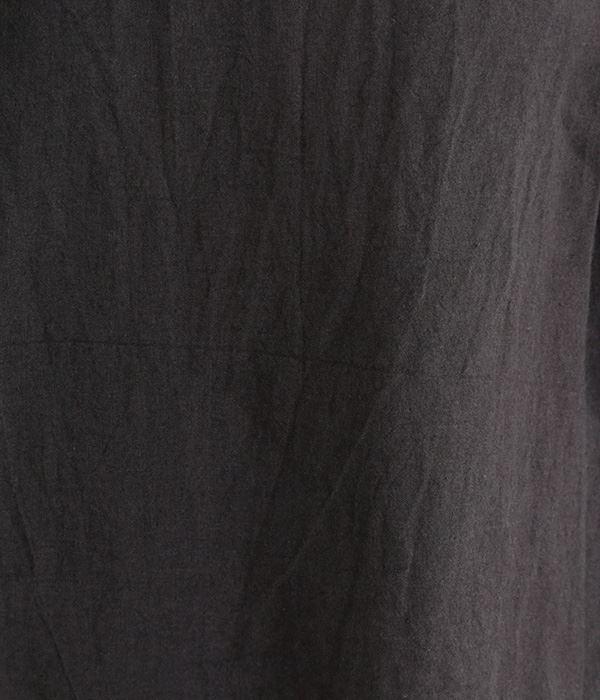東炊きリネンバレルスリーブブラウス(C・ブラック)
