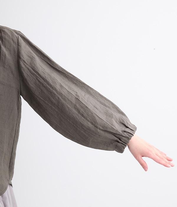 ネック・サイド・バック・袖ゴム入り7分袖ブラウス(C・グレー)