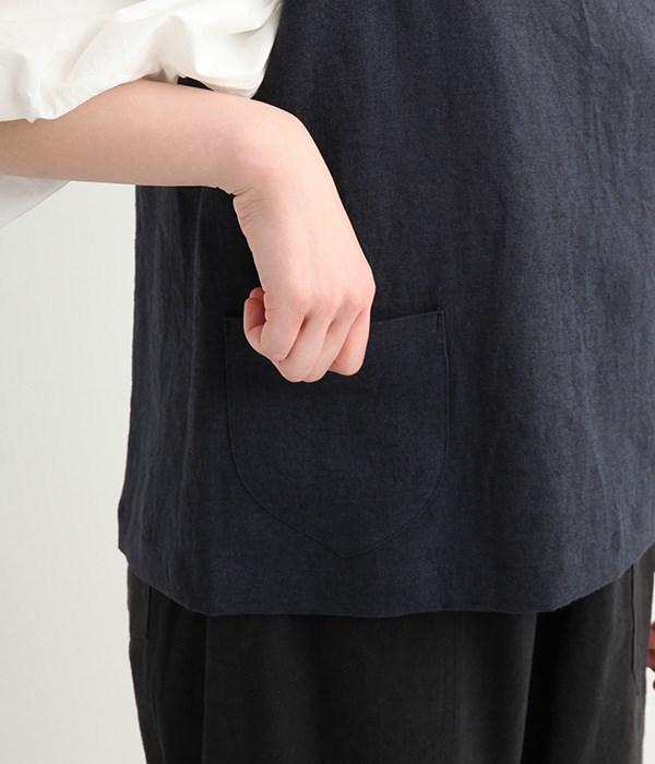 リネン2WAY ポケット付きベスト(C・ネイビー)