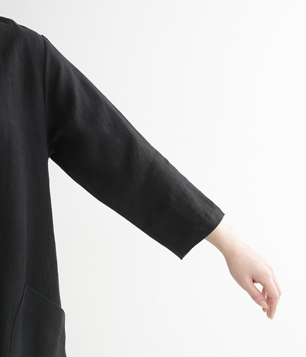 リネン Aラインポケット付きワンピース(D・ブラック)