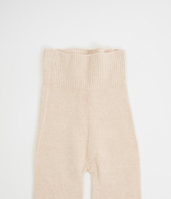 オーガニックコットンでつくった縫い目のないロングニットパンツ(A・ベージュ)