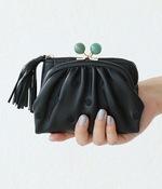 天然石まる玉がま口 二つ折り財布(K・ブラックドット刺繍)