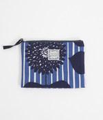 折りマチフラットポーチ(A・フルールストライプ/ブルー)